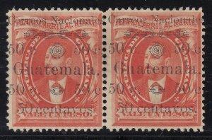 "Guatemala 1886 50c on 1p ""Carreos"" + No Period Pair M Mint. Scott Unlisted/27c"
