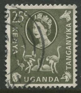 Kenya & Uganda - Scott 124 - QEII Definitive -1960 - Used - Single 25c Stamp