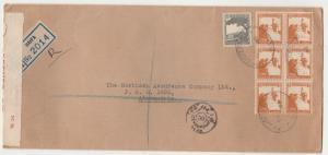 PALESTINE 1941 REGISTERED CENSOR COVER TO EGYPT