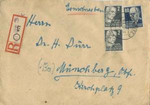 Germany Soviet Zone 80pf Thalmann  with 2pf Kollwitz (2) 1949 Chemnitz 3 Regi...