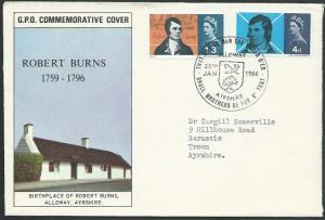 GB 1966 Burns commem FDC, ALLOWAY commem cancel............................10791