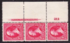 US 267 2c Washington Mint Plate #211 Strip of 3 VF-XF OG NH
