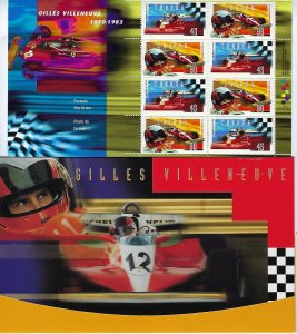 CANADA SCOTT #1647-48 1997 GILLES VILLENEUVE- COMPLETE PACKAGE
