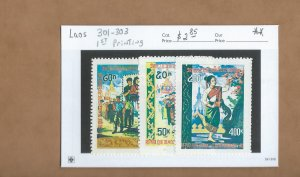 Laos  301-303  1st Printing  MNH