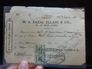 Malaya Jap Oc Negri Sembilan 3c DN x 2 on receipt, Syonan  (32bel)