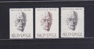 Sweden 683-685 Set MNH Prince Eugen, Painter