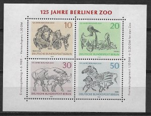 Berlin Germany MNH S/S 9N275 Berlin Zoo Animals 1969