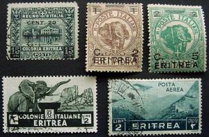 Packet, Eritrea, 5 Stamps, with a couple nice Elephants
