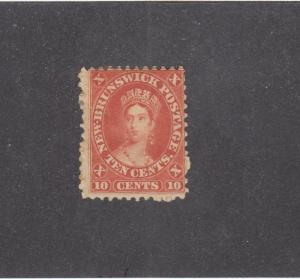 NEW BRUNSWICK # 9 F-MH 10cts  QUEEN VICTORIA MAY 15,1860 / VERMILION CAT VAL $35