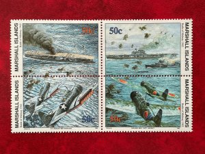 1992 Marshall Islands 4 Stamp Block #312-315 WWII Battle Of Midway MNH