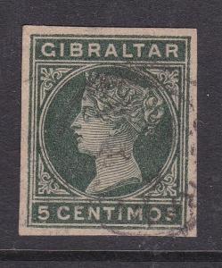 Gibraltar 5 centimos Victoria Postal Stationary Cutout VGC