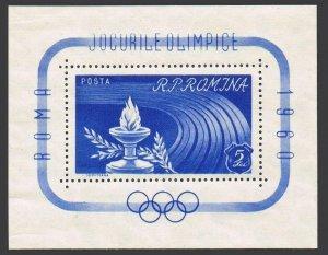 Romania 1337-1338,hinged.Michel Bl.46-47. Olympics Rome-1960.Flame,Stadium.