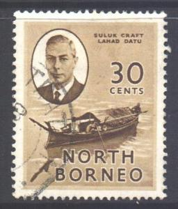 North Borneo Scott 253 - SG365, 1950 George VI 30c used