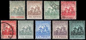 Barbados Scott 90-96, 98, 100 (1904-10) Mint/Used H VF, CV $90.25