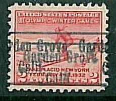 USA - OLYMPIC GAMES 1932 LAKE PLACID - pre-stamped 2 CENT - EDEN GROVE, CALIF