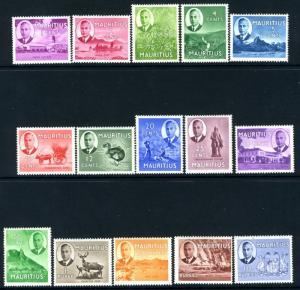 MAURITIUS-1950 Set to 10r Sg 276-290 MOUNTED MINT V15134