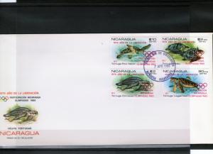 Nicaragua 1980 Moscow 1980 Olympics-Turtles Set (4) F.D.C  Mi#2099/2102