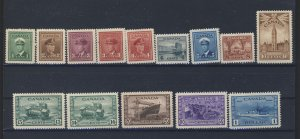 14x Canada WW2 Mint VF Stamps; #249-1c to 262-$1.00 MH VF Guide Value = $171.00