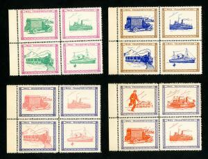 US Stamp Seal Set of 4 Block 4s by John Nicklin, 1934