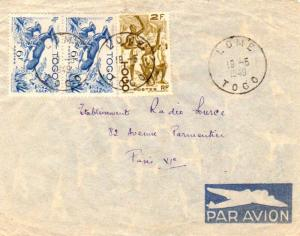Togo 2F Cotton Spinners and 6F Red-fronted Gazelles (2) 1949 Lome, Togo Airma...