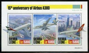 SIERRA LEONE 2020  15th ANNIVERSARY  OF AIRBUS A380  SHEET MINT NH