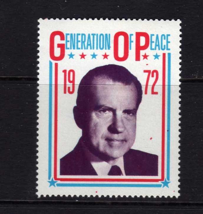 President Richard Nixon GOP Republican Political Peace Cinderella Stamp NH 1972