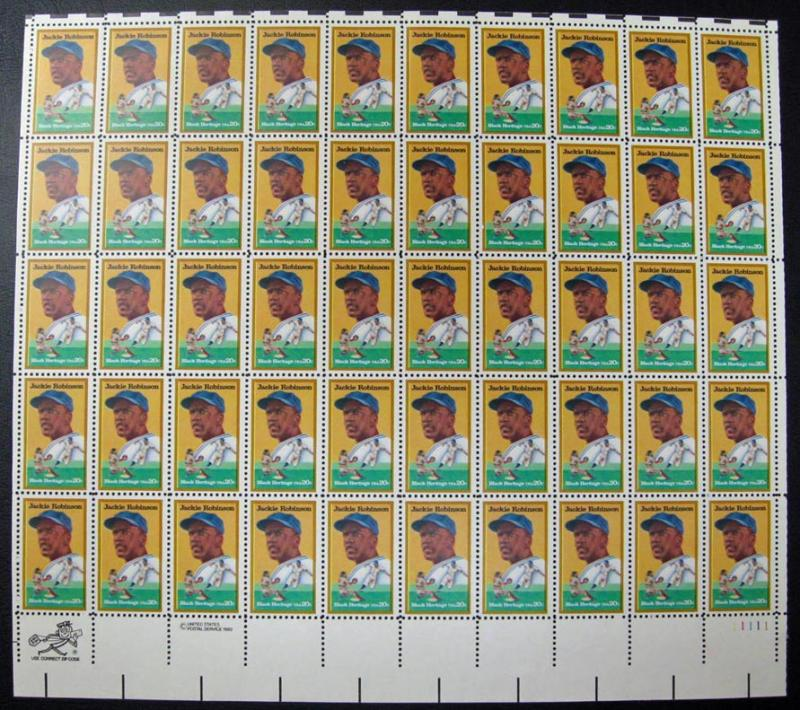 US #2016 Jackie Robinson Sheet of 50; MNH (55.00)