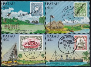 Palau 1985 MNH Sc C9a 44c Stamps on stamps Block of 4