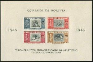 Bolivia 357b-358b imperf sheets,MNH. Athletic Championship matches, La Paz-1948.