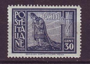 J24734 JLstamps 1929 italy rodi mh #19 crusader $72.50 scv small spot right side