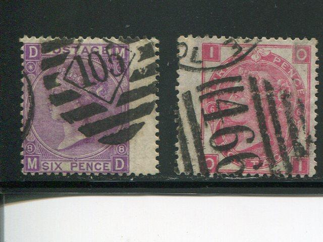 Great Britain #49  Plate 6  and #51  plate 8 VF