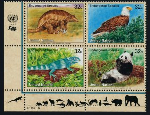 United Nations - New York 660a BL Block MNH Armadillo, Eagle, Iguana, Panda