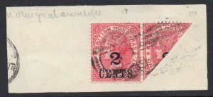 British Honduras 1888 QV 2c bisected on piece with normal SG 37a used