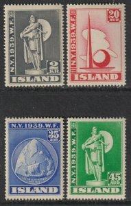 Sc# 213 / 216 Iceland 1939 New York World's Fair full MNH set CV $110.00 St# 3