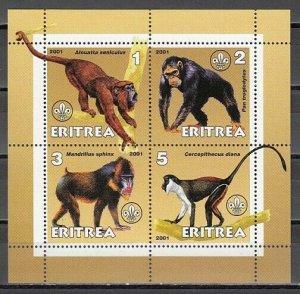 Eritrea, 2001 Cinderella issue. Monkeys on an sheet of 4. *