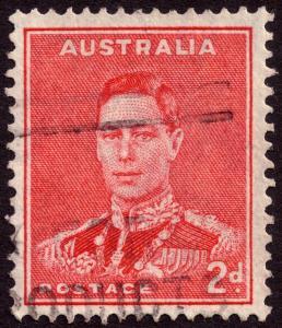 Australia 1938 2d Scarlet KGVI with Medallion Flaw SG184b VFU