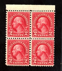U.S. #579 MINT BLOCK F-VF OG NH Cat $560