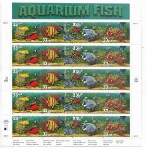 USA 3317-3320 MNH SHEETS AQUARIUM FISH