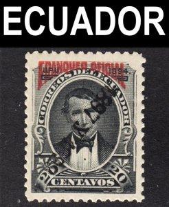 Ecuador Scott O68 INVERTED OVERPRINT ERROR F+ mint OG VLH. 1st issue.