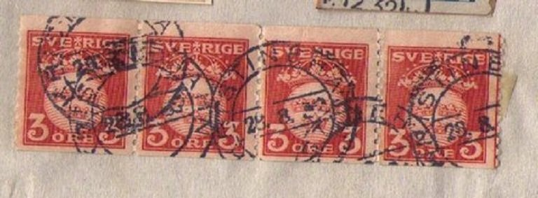 Sweden Sc 115 Used Strip Coil Of Four F-VF