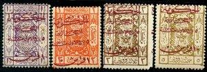 HERRICKSTAMP SAUDI ARABIA Sc.# L156-59 1925 Surcharges #157 thin. Fine Hinged