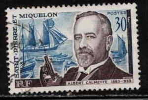ST PIERRE & MIQUELON Scott # 366 Used 1 - Albert Calmette, Bacteriologist