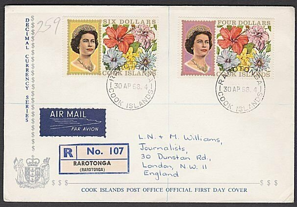 COOK IS 1968 $4 & $6 flowers definitive FDC.................................N155