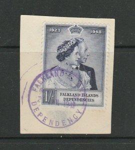 Falkland deps 1948 Wedding 1/- Used on piece, SG G20