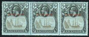 ASCENSION-1924-33 3/- Grey-Black & Black/Blue SPECIMEN OVPT BROKEN MAINMAST.