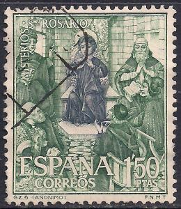Spain 1'50 ptas Green used stamp ( E1213 )