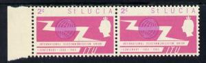 St Lucia 1965 ITU 2c horiz pair, one stamp with 'broken U...