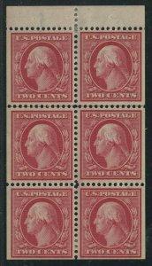 #332a 2c 1908 BOOKLET PANE VF+ OG LH CV $135 BV1489