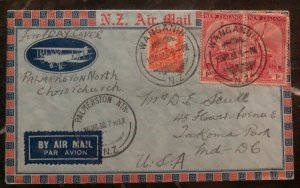 1936 Wanganui New Zealand First Day Airmail Cover FDC To Usa Sc#B5 Pair MXE