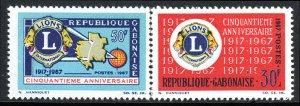 Gabon 209-210 se-tenant pair, MNH. Lions Intl. 50th anniv.Emblem,Map,Globe, 1967